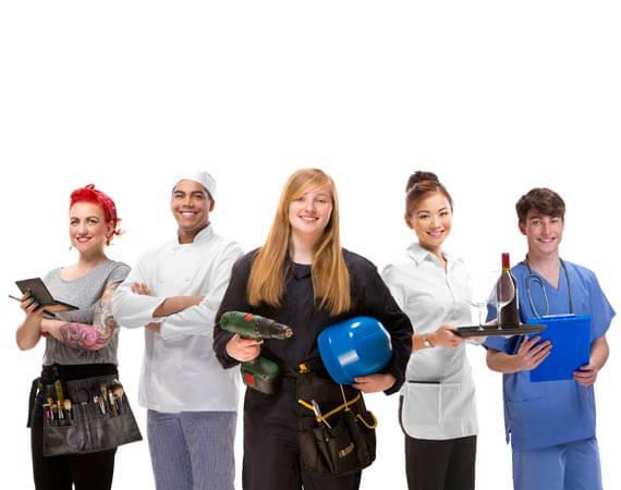 Das Bild zeigt 5 verschiedene Berufsbilder, dargestellt durch junge Erwachsene.
