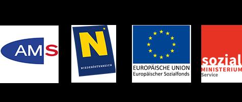 Logos: Arbeitsmarkt Service, Niederösterreich, Europäische Union Europäischer Sozialfonds, Sozial Ministerium Service